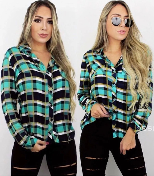 Camisa Xadrez Feminina Em Viscose Blusa Bolsos Impostado