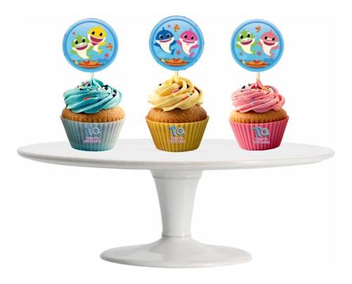 Imagen 1 de 7 de Baby Shark Cupcake Toppers Adorno Para Muffins X10