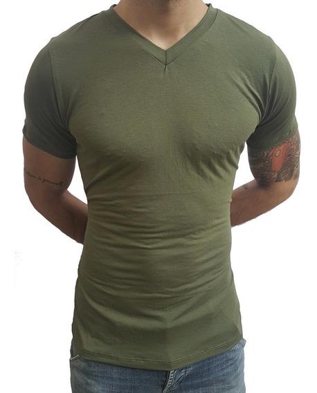 Camiseta Masculina Slim Fit Gola V Manga Curta Básic Sjons