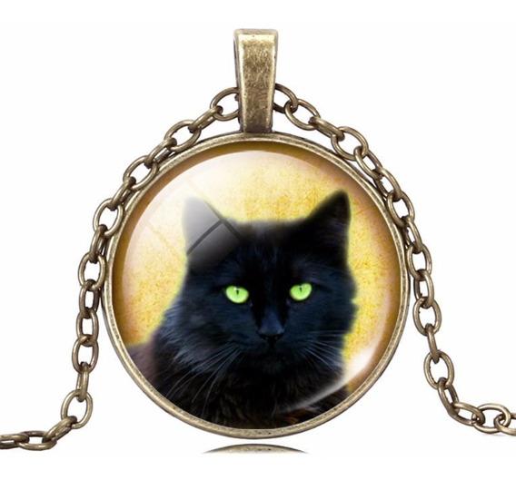 Medallón Collar Dije Gato Negro Mod 1