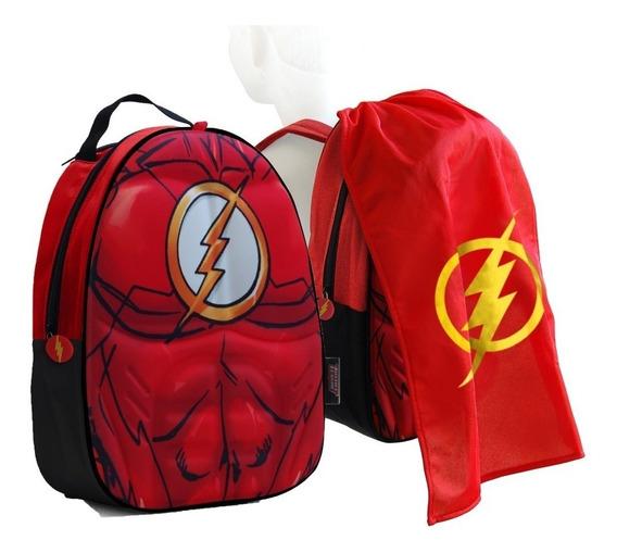 Mochila Batman Flash Liga De La Justicia 13 Con Capa Fty