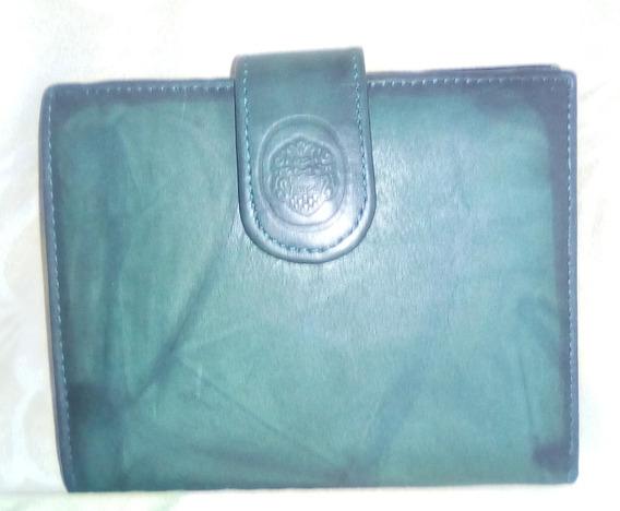 Monedero Piel Verde Oscuro Para Damas