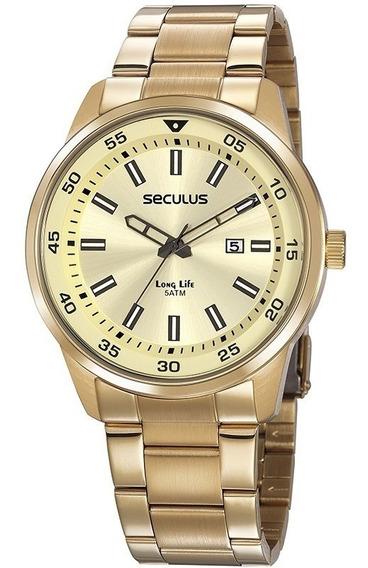 Relógio Masculino Luxo Seculus Dourado 20786gpsvda2