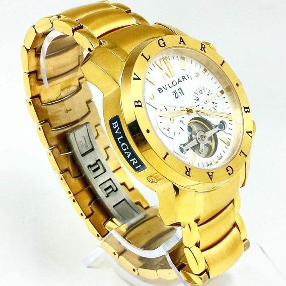 Relógio Rr508 Bv Iron Man Dourado Fundo Branco Automático