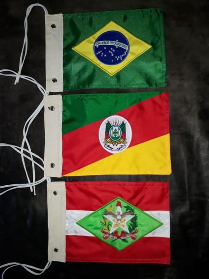 Kit Bandeira Moto Brasil, Santa Catarina,rio Grande Do Sul.