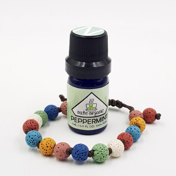 Pulsera Piedra Volcánica Colores + Aceite Esencial