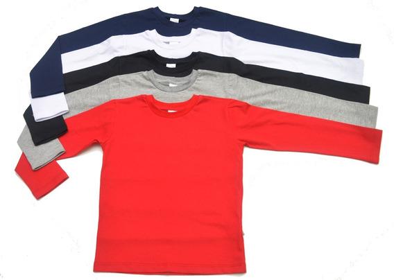 Kit 5 Camisetas Manga Longa Infantil