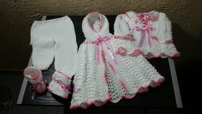Saída De Maternidade Branco + Rosa Tricô Feito A Mão 5 Peças