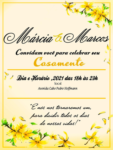 Imagem 1 de 1 de Convite Casamento Virtual Modelo 0001
