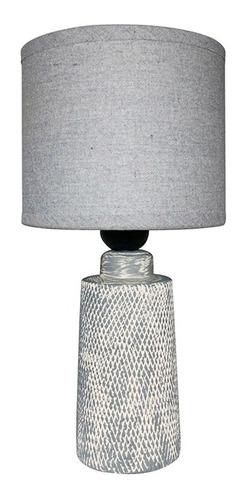 Lámpara De Mesa Base De Porcelana Texturada Pantalla De Tela