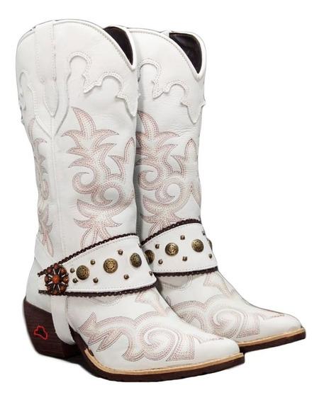 Bota Texana Feminina Country Cano Longo Couro Bico Fino