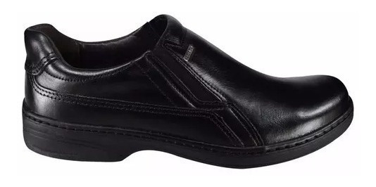 Sapato Masculino Couro Marca Pegada Preto Sem Cadarç Cód 313
