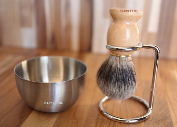 Pincel Barba Pelo De Texugo Cabo Claro + Pote Inox +suporte