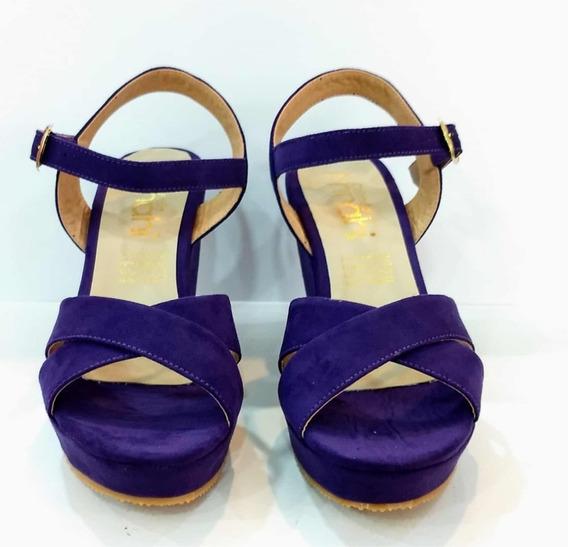 Zapatilla Tacón Corrido Morado Moda Dama Zapato Mujer Fiesta