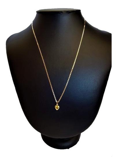 Cordão De Ouro 18 K Piastrine 60cm C/ Ping Coração