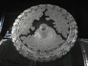 Antiga Grande Fruteira Bandeja P Bolo Cristal Modelo Lalique