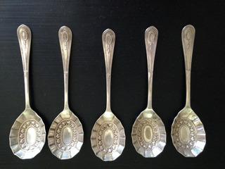 Lote De 5 Cucharitas Herriot Sheffield Bañadas En Plata