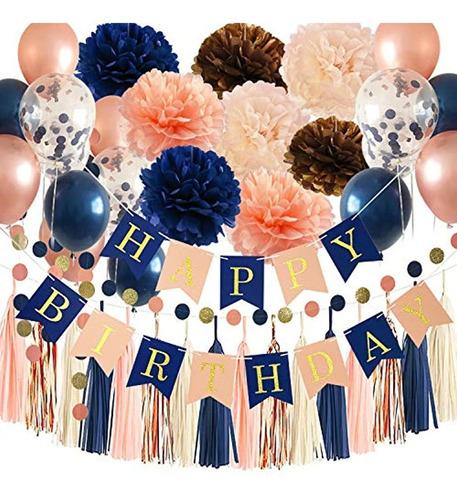 Decoraciones De Fiesta De Cumpleaños De Oro Rosa Azul Marino