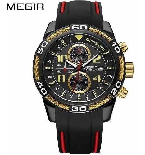 Relógio Masculino Megir 2045 Preto Com Dourado Sport Luxo