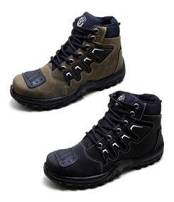 02 Tenis Calçados Masculinos Trilha Moto Trabalho Caminhada