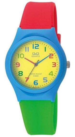 Relógio Infantil Azul, Vermelho E Verde Q&q Prova D