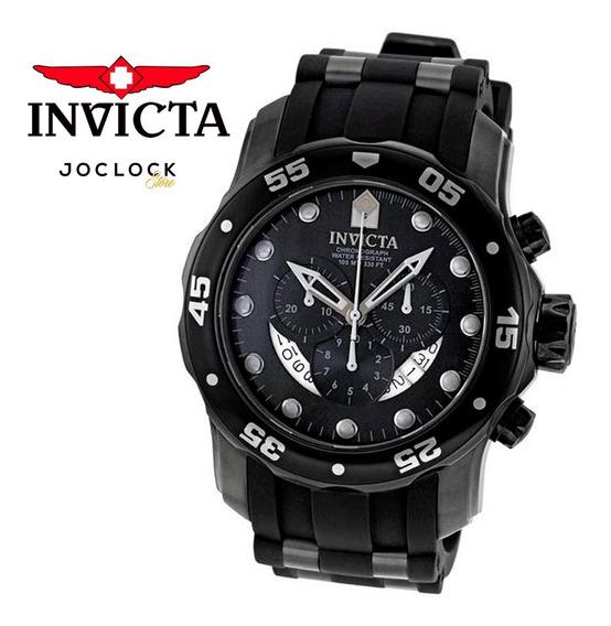 Relógio Invicta Pro Diver 6986 Masculino Preto Original Cronógrafo Pulseira Borracha Garantia Nota Fiscal Oferta Joclock