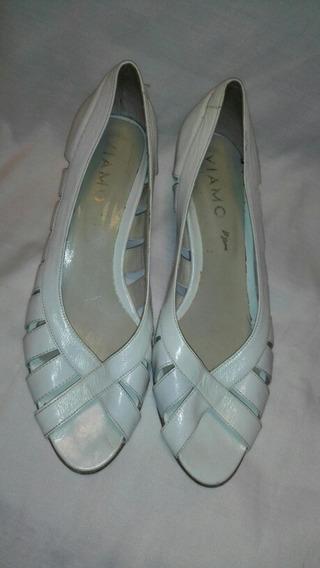 Zapato De Verano Abierto Adelante Blanco Talle 40