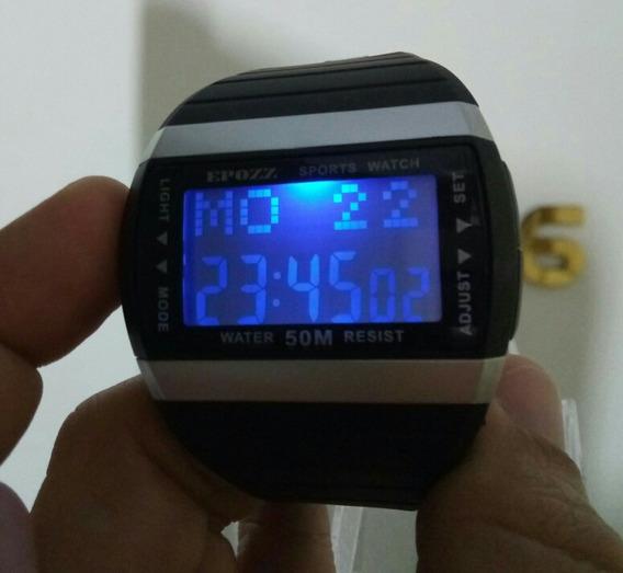 Relógio Preto Quadrado Led Digital S Shock Prova Dágua E1301