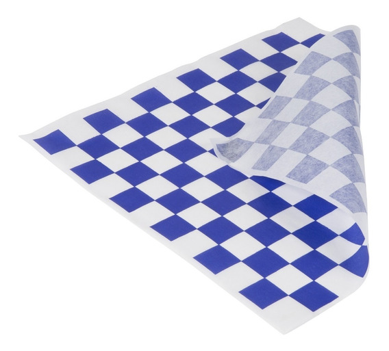 Papel Encerado Grado Alimenticio Azul C/ Blanco 1000 Hojas