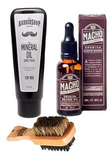 Kit Tónico Macho + Aceite Mineral Barbershop Barba + Cepillo