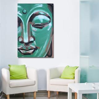 Cuadro Budha Rostro Abstracto Cara Azul 70x50cm 1pz Tela