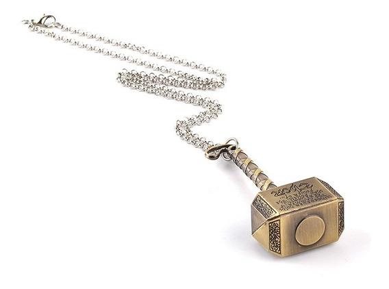 Collar Thor Martillo Color Plateado O Dorado