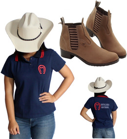 Camisa Mangalarga Marchador Feminina + Bota De Couro