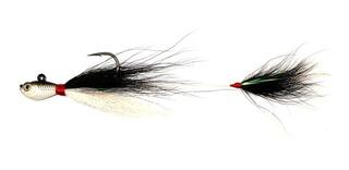 Isca Artificial Cichla Jig Bucktail Duplo 17cm Preto Branco