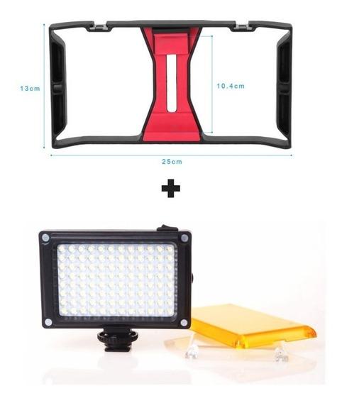 Kit Stedicam Celulares + Led 96 Iluminador Gravação De Vlogs