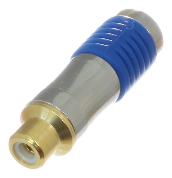 5 * Plug Rca Fêmea Dourado Banhado A Ouro Au Azul Metálico