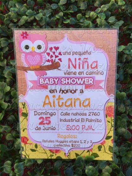 Invitación Baby Shower Búho Impresa 10x14 Cm 50 Pzas