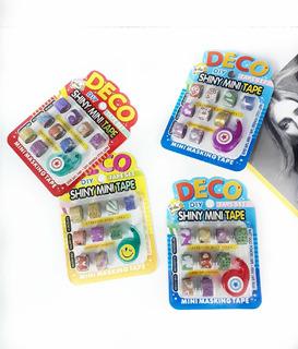 9 Mini Washi Tape Diurex Decorado C/glitter Cinta Adhesiva