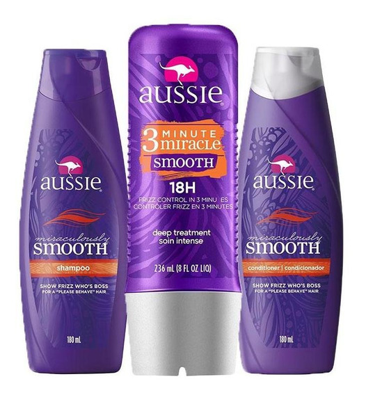 Kit Aussie Smooth Shampoo 180ml+cond. 180ml+tratamento 236ml