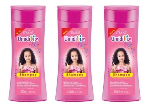 Imagem 1 de 1 de Umidiliz Kids Shampoo Infantil 250ml (kit C/03)