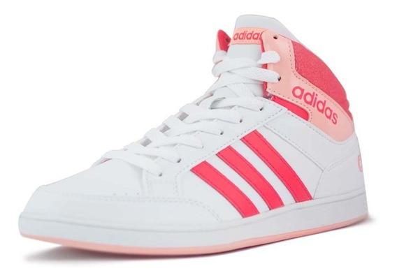 Tenis adidas Hoop Mid K Infantil Blanco Originales En Caja