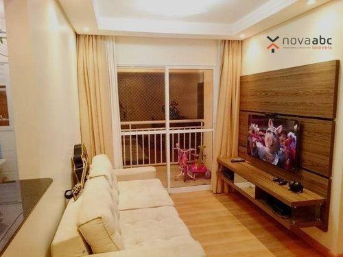 Apartamento Com 2 Dormitórios Para Alugar, 58 M² Por R$ 1.900/mês - Campestre - Santo André/sp - Ap3455