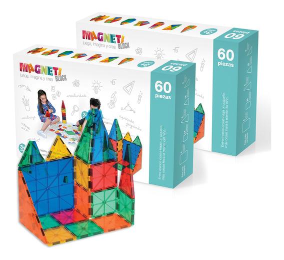 Pack 2 Juguetes Bloques Magnéticos Magneti Block 60 Piezas