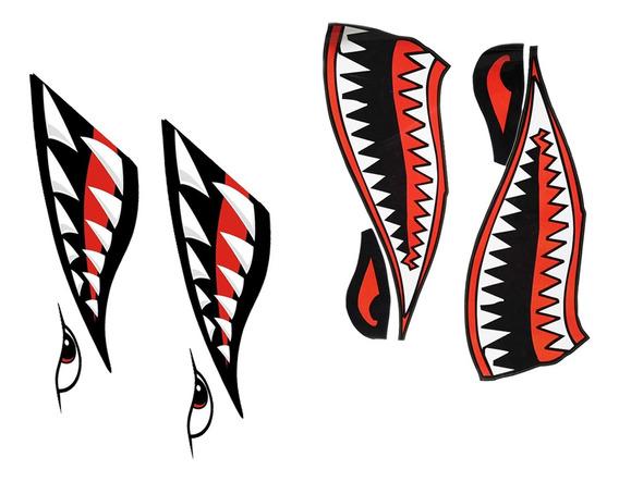 4 Pcs Tubarão Teeth Boca Peixe Barco Stickers Caiaque Canoa