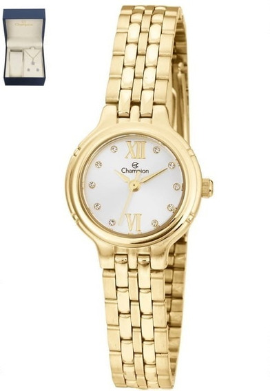 Relógio Champion Dourado Feminino + Colar E Brinco Cn28393d