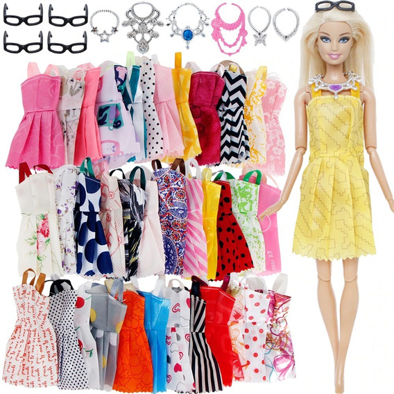Kit Roupa Boneca Barbie Sapato Acessórios Roupinha 20 Peças