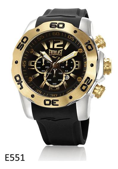 Relógio Pulso Everlast Masculino Cronografo Aço Preto E551