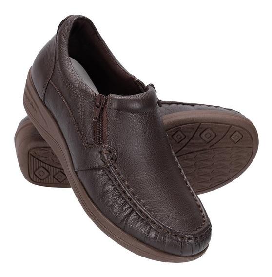 Sapato Feminino Em Couro Ortopédico Legítimo Anti Estresse