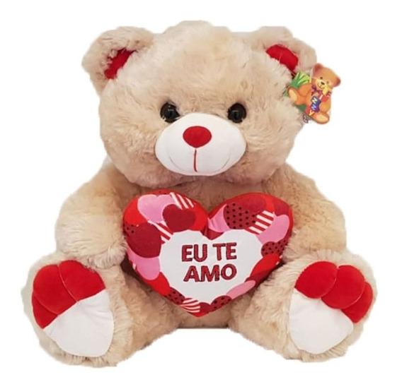 Urso Pelúcia 38cm Fofinho E Antialérgico Coração Eu Te Amo