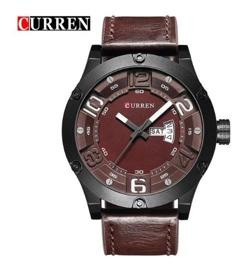 Relógio De Pulso Curren 8225 Pulseira De Couro Marrom Escuro